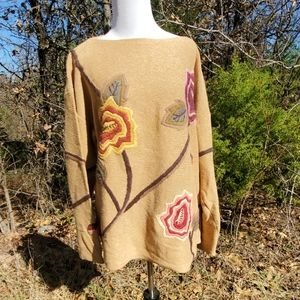 Cold water creek knitted Sweater thick embroidered
